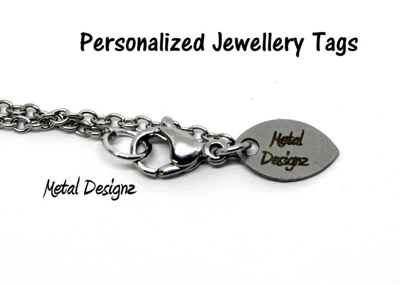 Custom branding name and logo laser engraved,tag sequins,A0245-1 2050100pcs,25mm,Stainless steel jewelry tag