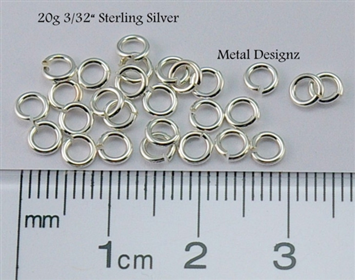 "Sterling Silver Jump Rings 20 Gauge 3/32"" id."