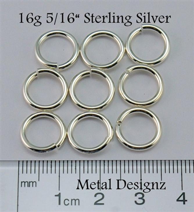 """Sterling Silver Jump Rings 16 Gauge 5/16"""" id."""