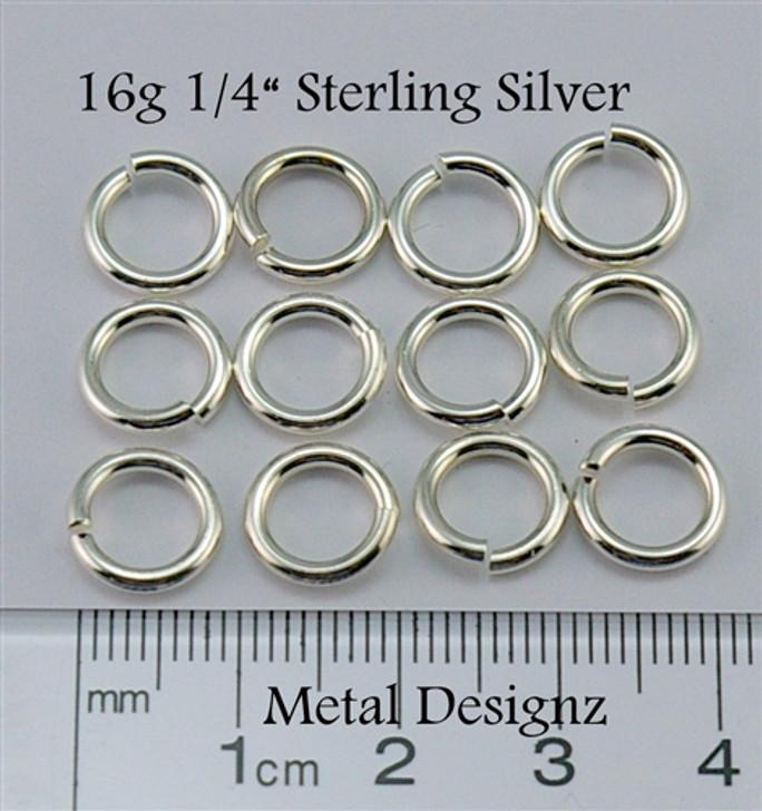 """Sterling Silver Jump Rings 16 Gauge 1/4"""" id."""