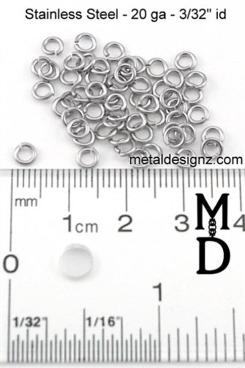 Stainless Steel Jump Rings 20g 3/32""