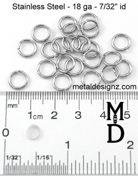 Stainless Steel Jump Rings 18g 7/32""