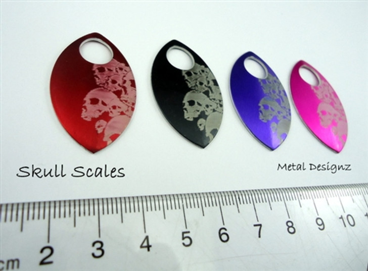 Skull Engraved Anodized Aluminum Large Scales