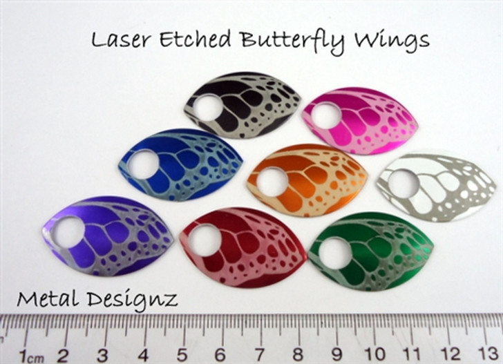 Butterfly Engraved Anodized Aluminum Large Scales -pair