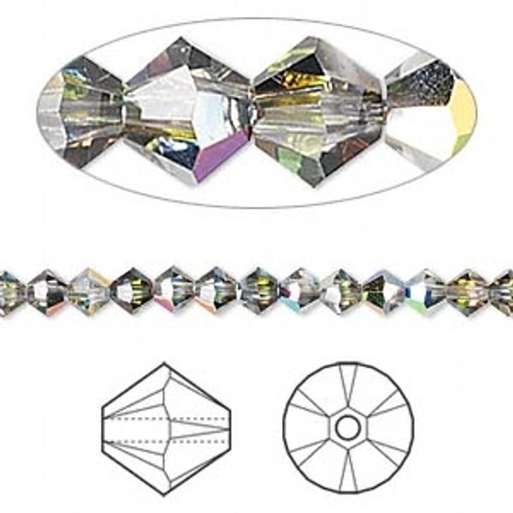 Swarovski crystal, crystal vitrail medium, 4mm  bicone