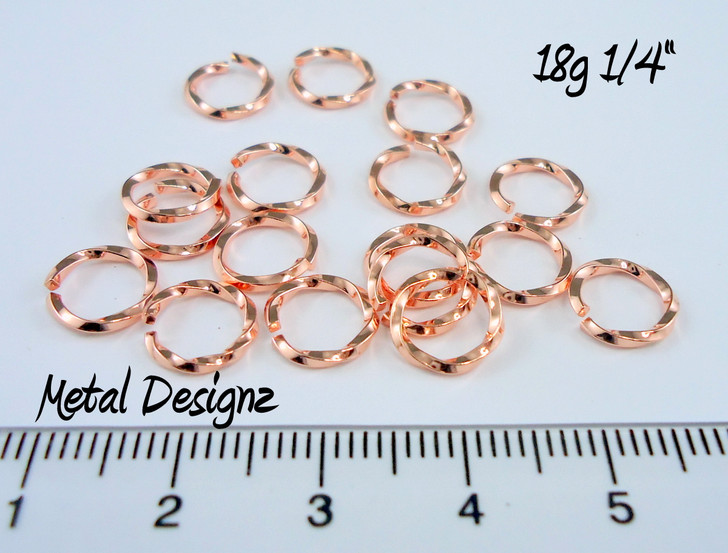 "Square Copper Wire Twisted Jump Rings 18 Gauge 1/4"" id."