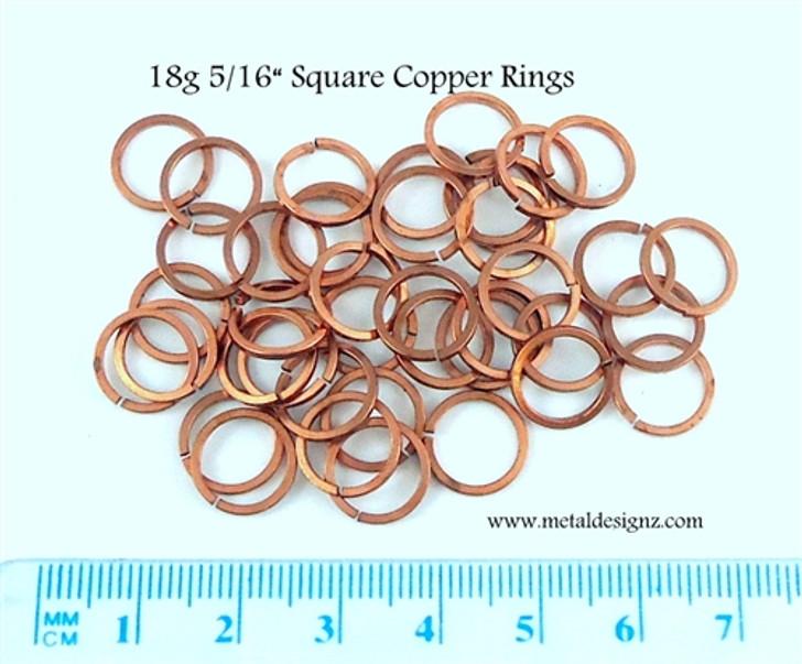 "Square Copper Jump Rings 18 Gauge 5/16"" id."
