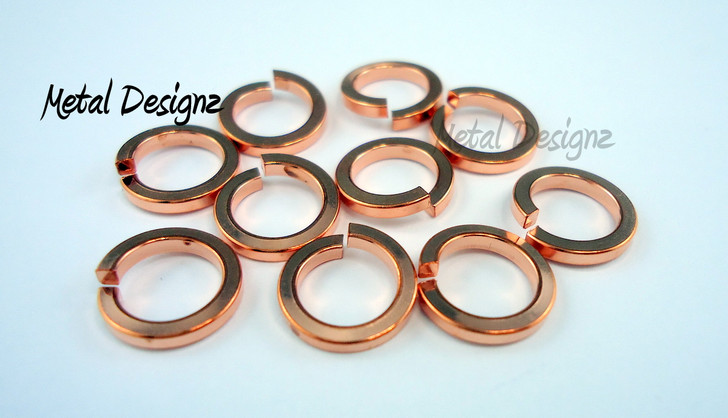 "Square Copper Jump Rings 16 Gauge 5/16"" id."