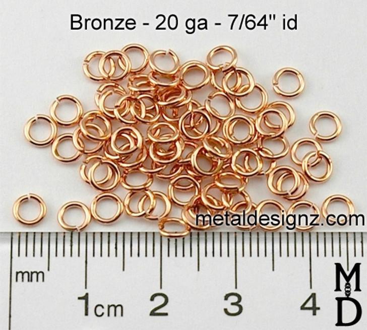 """Bronze Jump Rings 20 gauge 7/64"""""""