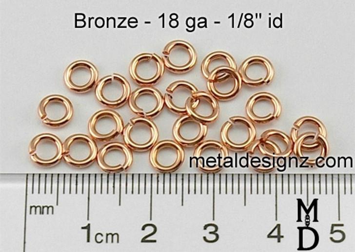 """Bronze Jump Rings 18 Gauge 1/8"""" id."""