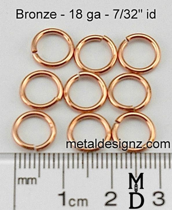 """Bronze Jump Rings 18 Gauge 7/32"""" id."""