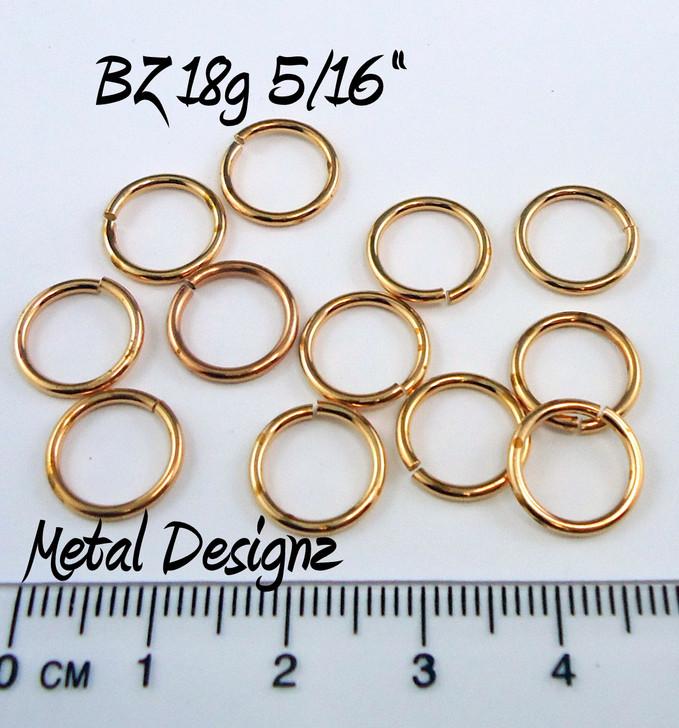 """Bronze Jump Rings 18 Gauge 5/16"""" id."""