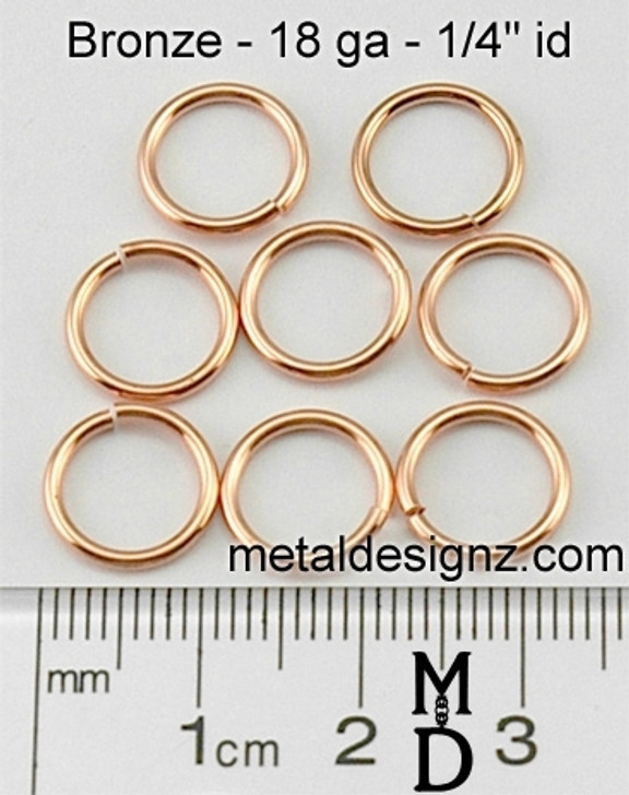 "Bronze Jump Rings 18 Gauge 1/4"" id."