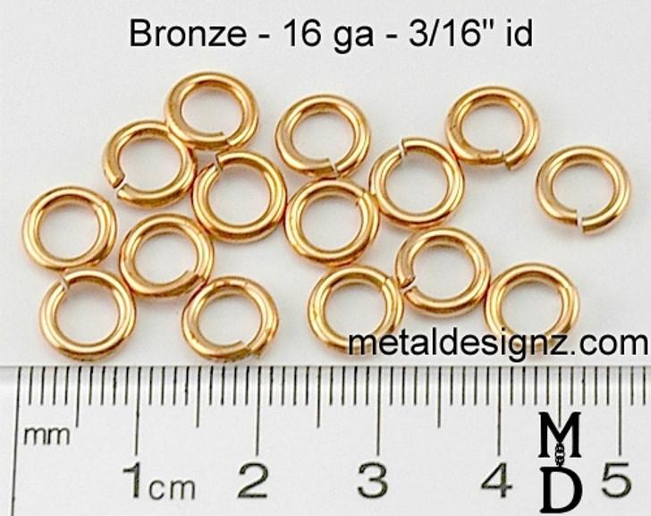 """Bronze Jump Rings 16 Gauge 3/16"""" id."""