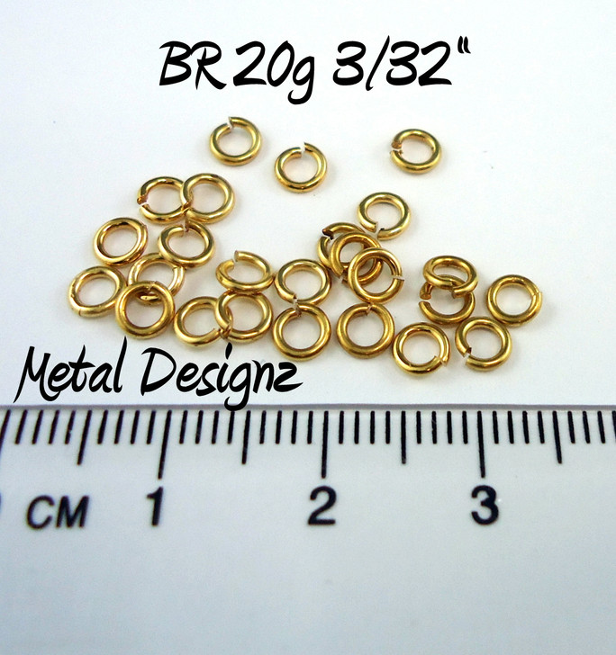"Jewelers Brass Jump Rings 20 Gauge 3/32"" id."