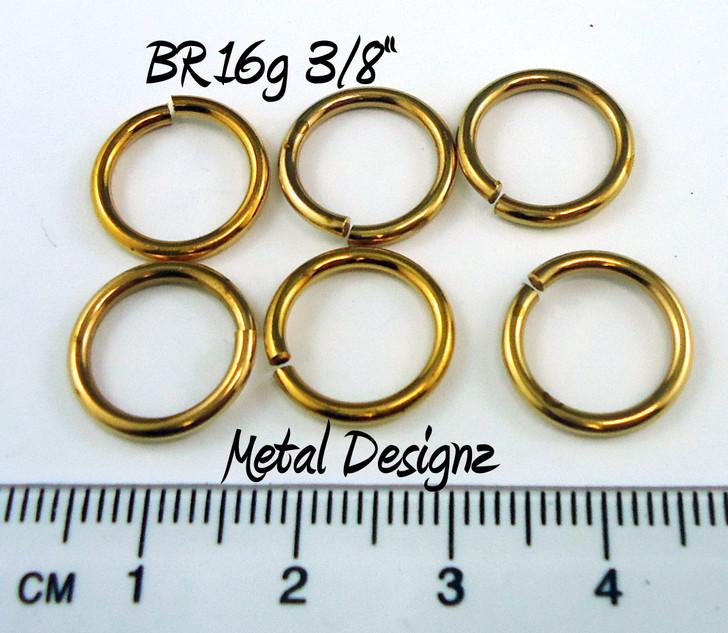 "Jewelers Brass Jump Rings 16 Gauge 3/8"" id."