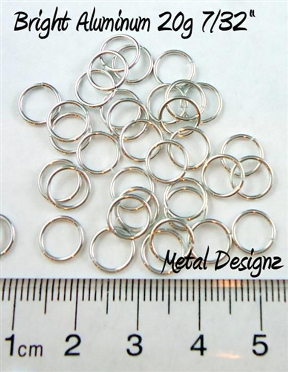 """Bright Aluminum Jump Rings 20 Gauge 7/32"""" id"""