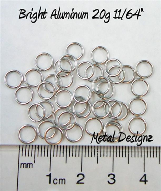 """Bright Aluminum Jump Rings 20 Gauge 11/64"""" id."""
