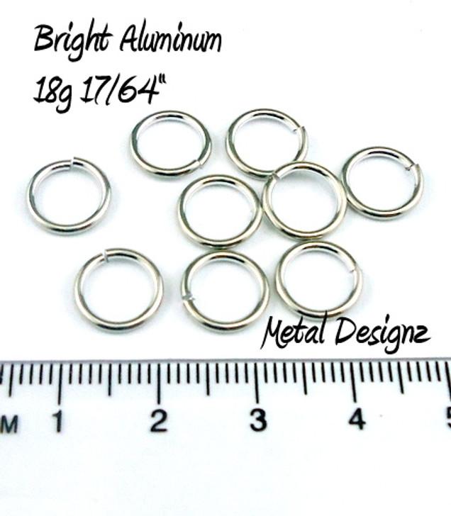 """Bright Aluminum Jump Rings 18 Gauge 17/64"""" id."""