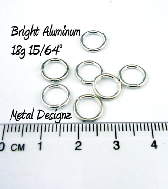 """Bright Aluminum Jump Rings 18 Gauge 15/64"""""""
