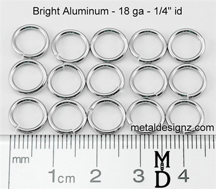 "Bright Aluminum Jump Rings 18 Gauge 1/4"" id"