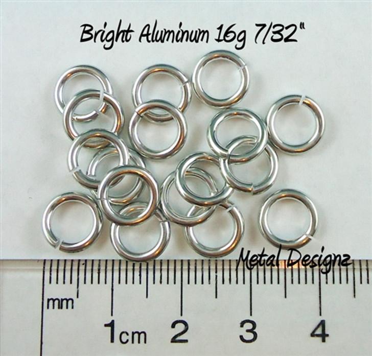 """Bright Aluminum Jump Rings 16 Gauge 7/32"""" id."""