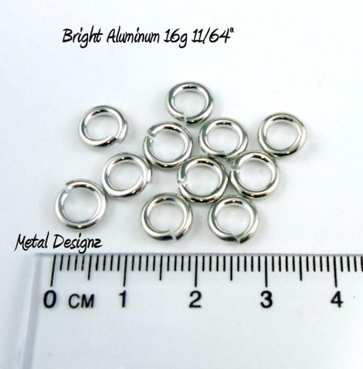 """Bright Aluminum Jump Rings 16 Gauge 11/64"""" id."""