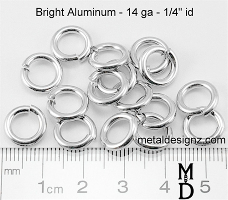 "Bright Aluminum Jump Rings 14 Gauge 1/4"" id."