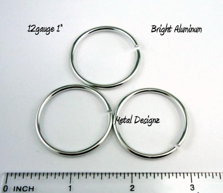 """Bright Aluminum Jump Rings 12 gauge 1"""" id"""