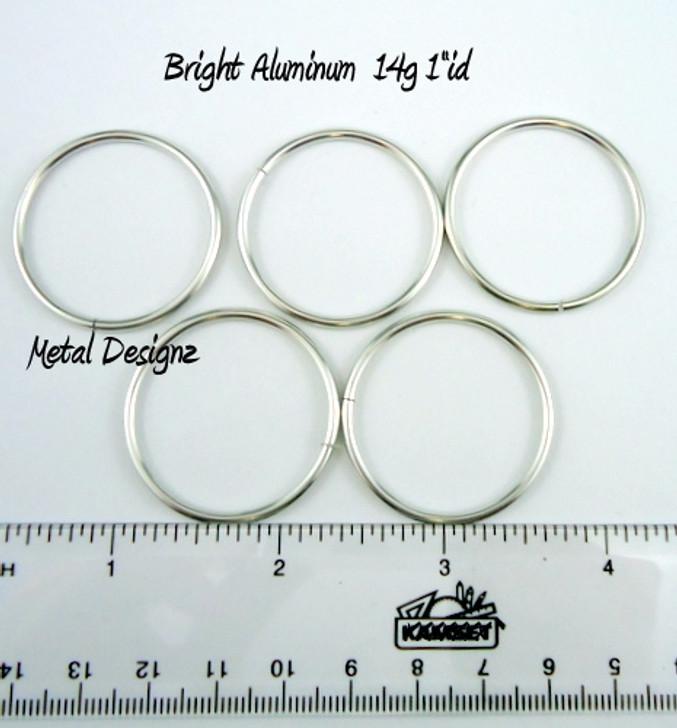 """Bright Aluminum Jump Rings 14 Gauge 1"""" id."""