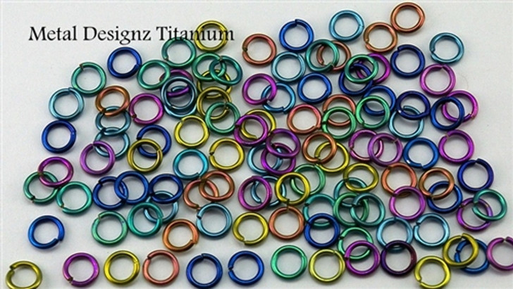 "Anodized Titanium Jump Rings 22 Gauge 3/32"" id."