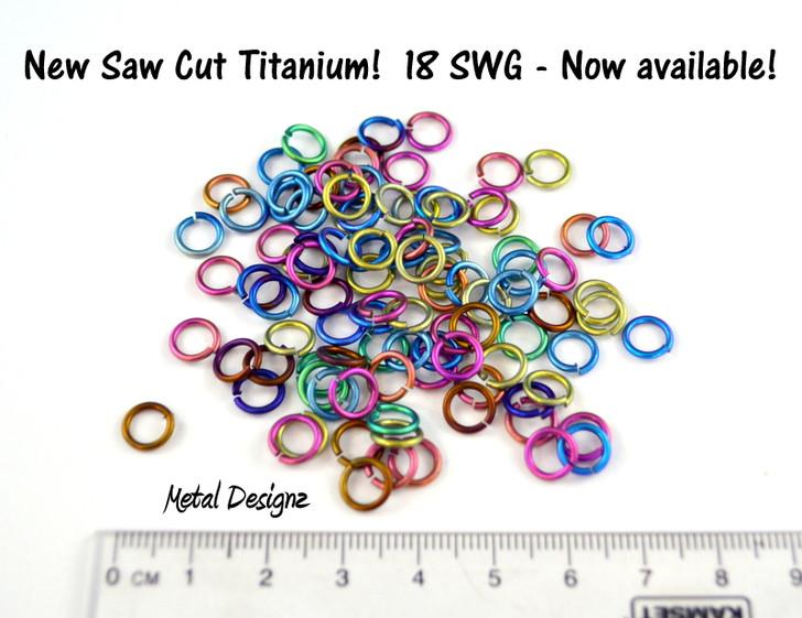 "Anodized Titanium Jump Rings 18 Gauge 3/16"" id."