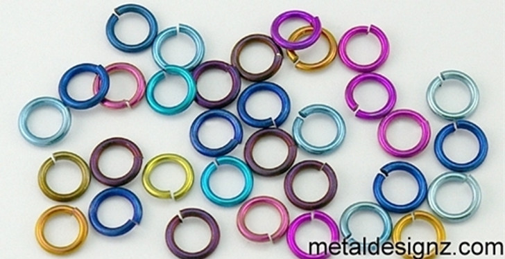 "Anodized Niobium Jump Rings 20 Gauge 5/32"" id."