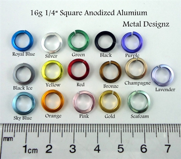 Square Anodized Aluminum Jump Rings 16 Gauge 1/4""