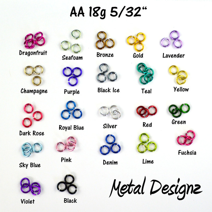 Anodized Aluminum Jump Rings 18 Gauge 5/32""