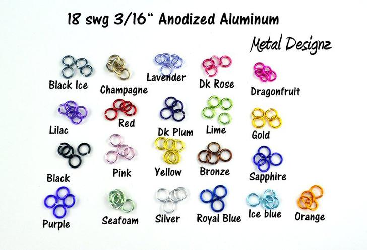 """Anodized Aluminum Jump Rings 18 Gauge 3/16"""""""