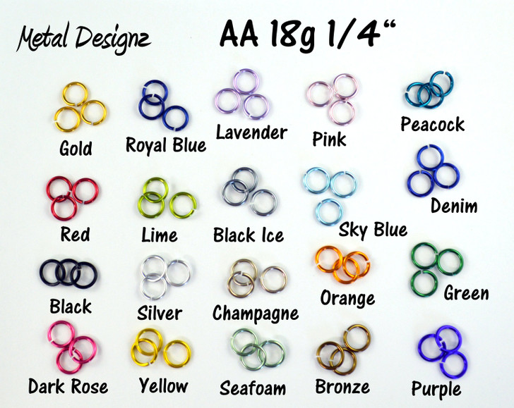 Anodized Aluminum Jump Rings 18 Gauge 1/4""