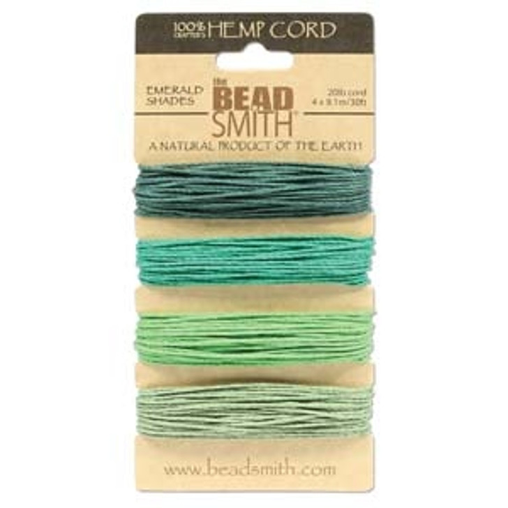 HEMP 4 COLOR CARD 1.0MM 20 LB TEST EMERALD SHADES - Half Price now!