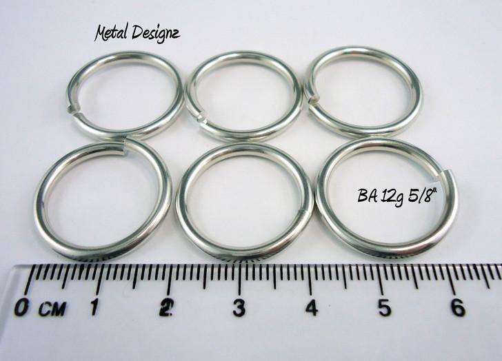 """Bright Aluminum Jump Rings 12 gauge 5/8"""" id"""
