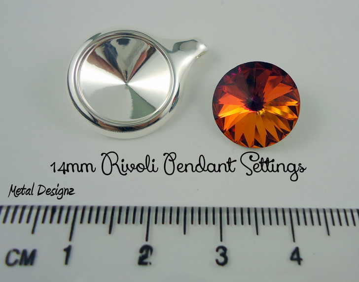Pendant setting for Rivoli 14mm Swarovski Crystal