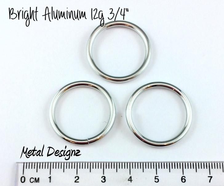 """Bright Aluminum Jump Rings 12 gauge 3/4"""" id"""