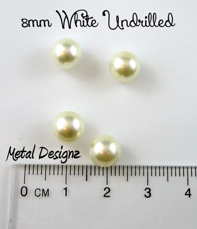 Undrilled Acrylic Pearls - 8mm White - Bag of 50