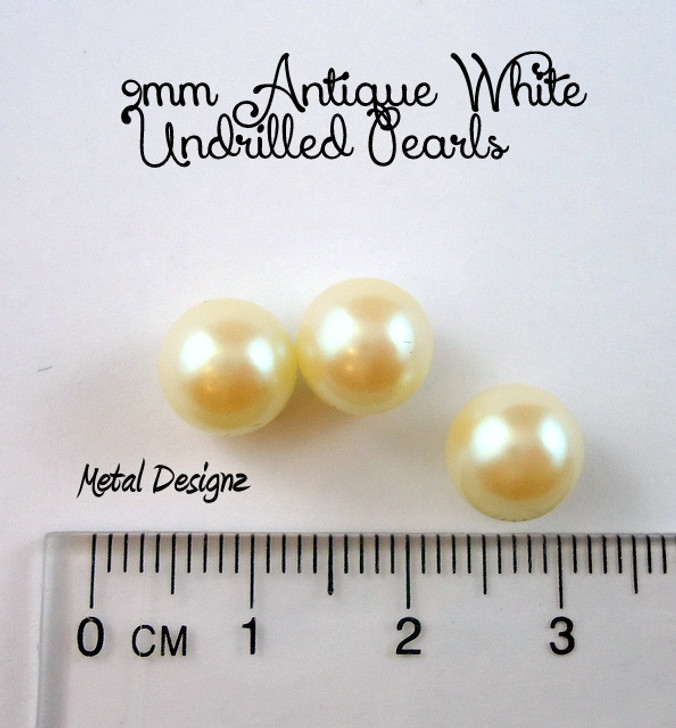 Undrilled Acrylic Pearls - 9mm Antique White - Bag of 50