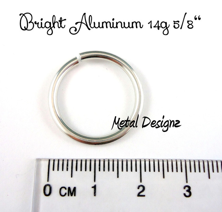 "Bright Aluminum Jump Rings 14 Gauge 5/8"" id."