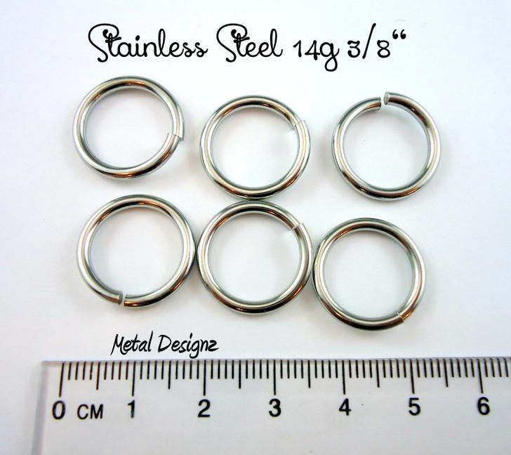 """Stainless Steel Jump Rings 14 Gauge 3/8"""" id."""