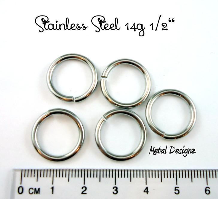 """Stainless Steel Jump Rings 14 Gauge 1/2"""" id."""