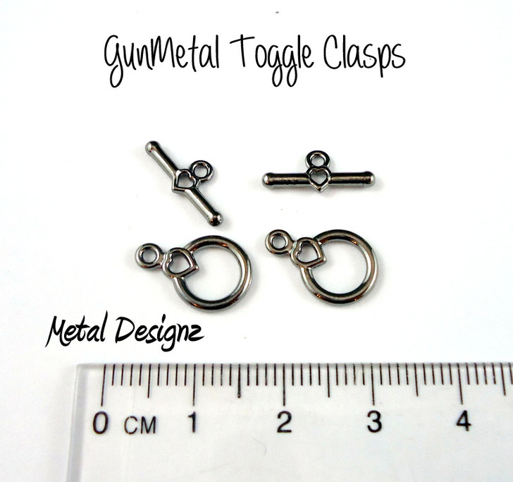 Gunmetal Plated Heart Toggles - Bag of 20 sets.