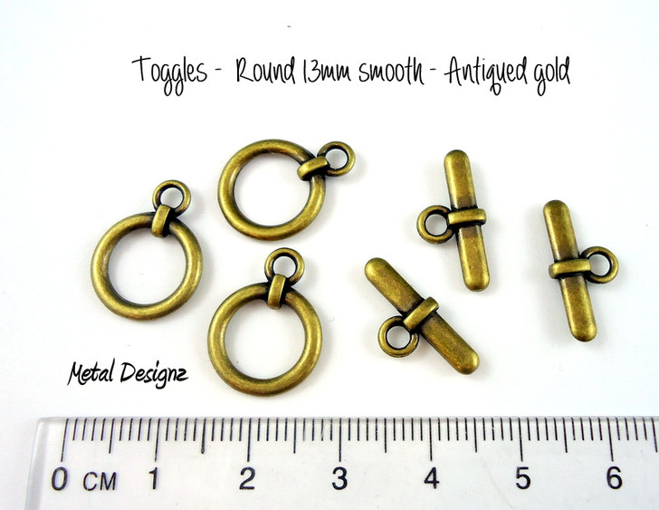 Toggles - Bag of 20 - Round 13mm smooth - Antiqued gold
