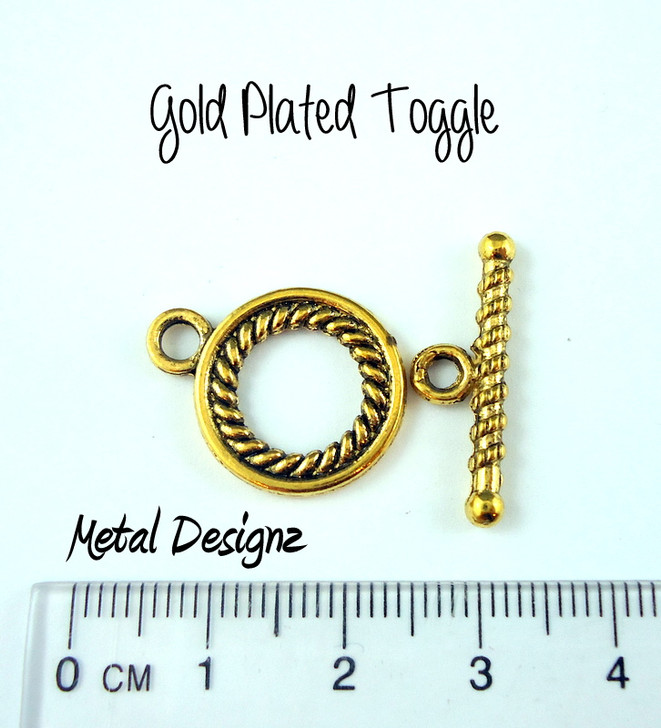 Toggles - Bag of 10 - Round 20mm smooth - Antiqued gold