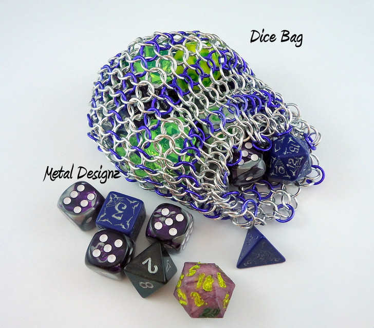 Metal Designz own Dice Bag Kit - Anodized aluminum. Top Quality Saw cut jump rings - Great value for best quality